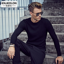 Enjeolon brand 2017 Fashion Knitted pullover Sweaters man,O-neck black Sweater,casual argyle Man's Clothes M3055(China)