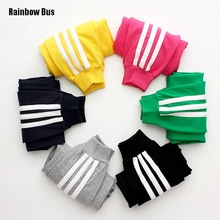 RAINBOW BUS Kids Fashion Classical Striped Sports Pants Boy Girls Cotton Children Sports Trousers Baby Boys Sweatpants Jog Pants