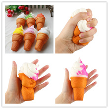 11cm Cute Soft Jumbo Ice Cream Cone Squishy Slow Rising Cell Phone Straps Bread Antistress Scented Key Pendant Charms Kids Toys(China)
