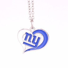 New York Giants 1pcs Drop shipping Football team logo Swirl Heart charm with link chain sport Necklace Fans collection(China)
