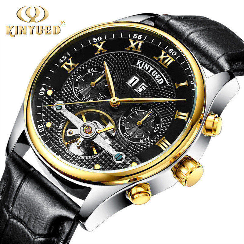 KINYUED New 2016 Mens Fashion Automatic Mechanical Watch Tourbillon Leather Top Luxury Brand Sports Watches Relogio Masculino<br>