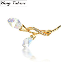 Austrian Crystal Jewelry Manual Mosaic Dancing Lightly and Flying Brooch Pin for Women(China)