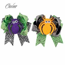 "2pcs/lot 3.5""Cute Halloween Hair Bow Black and Green Ribbon Spider Hairgrips Kids Hair Accessories()"