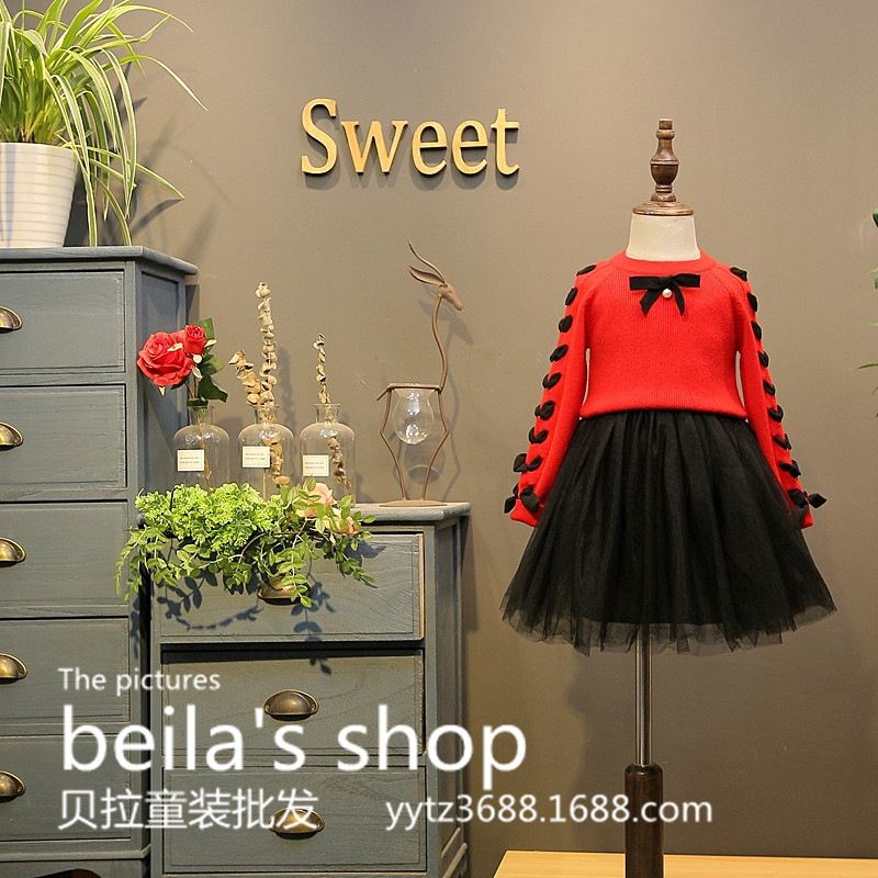 SexeMara 2017 autumn new girl hit color tie red sweater with black skirt two-piece sets<br>