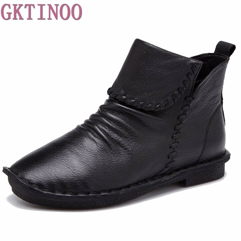 Autumn Fashion Shoes New Genuine Leather Boots Handmade Woman Shoes Casual Full Grain Leather Ankle Boots For Women<br>