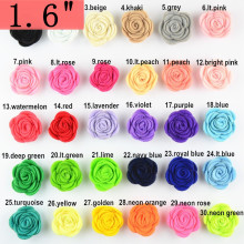 200pcs/lot 1.6'' Tiny Felt Rose Flower without Clip Hair Accessories for girl DIY Headbands 30 Color Free Shipping TH210
