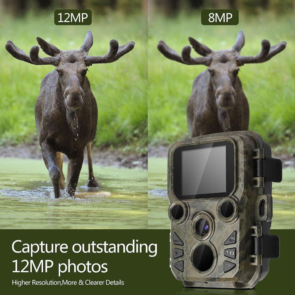 Mini Trail Camera Chasse 12MP 1080P Night Vision Hunting Game Camera Photo traps 0.45S Motion Activated Wildlife Scout Camera (9)