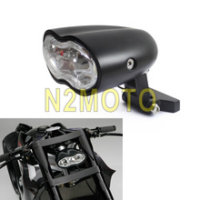 Black Motorcycle Wave Billet Custom Oval Headlight Twin H3 55W Lamp for Harley Cafe Racer Honda Yamaha