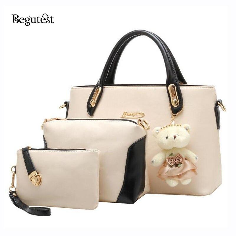 2016 Womens Handbags Vintage PU Leather Top-Handle Bags Luxury Brand Designer Ladies Messenger Composite Bag 3 In 1 For Women<br>