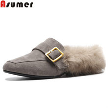 ASUMER 2018 fashion autumn shoes woman square toe shallow mules casual ladies  shoes comfortable suede leather shoes women flats 53100e791347