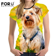 FORUDESIGNS Wholesale Women T Shirt Yorkshire Dog Tees Woman Cute Tops O Neck Elastic Ladies Basic Shirt Girl Female 3D T-shirt(China)