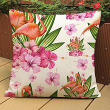Factory Supply Tropical Pastoral Style Nordic Flamingo Printing Soft Short Plush Throw Pillow Home Room Bedside Back Cushion