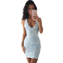 Summer Dress Womens Sexy Deep V Neck Backless Crochet Lace Casual Party Club Prom Sheath Dress Bodycon Mini Dress Clubwear