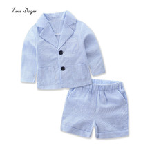 Tem Doger Baby Boys Girls Clothing Sets Summer Boys Clothes Thin Long Sleeve Striped Suit+Shorts 2Pcs/set Girls Boutique Outfits