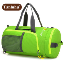 Tanluhu Fashion Multi-function Men's Multi-fold Double Shoulder Bag Women Travel Bag Waterproof Ultra-light Cylinder Bag Z695(China)