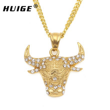 African Tribe Style Bull Head Pendant Necklace For Man Boy Gothic Iced Out Rhinestone Men's Stainless Steel Cow Jewelry(China)