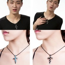 Titanium Stainless Steel Men Jewelry Cross Sword Necklaces Pendants flame courage overbearing Evil necklace for lovers