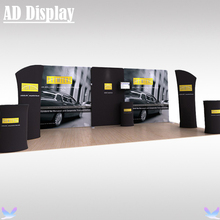 6m*3m Exhibition Booth Portable Stretch Fabric Banner Display Wall With Podium Oval Table And Tower(No TV accessory and Light)(China)