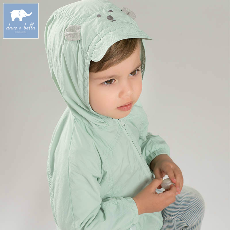 DB7240 dave bella unisex spring infant baby fashion hooded coat kids toddler children hight quality clothes <br>
