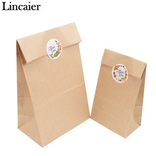 Lincaier 12pcs 24x13x8cm Kraft Paper Bag Handmade Bread Cookies Wedding Gift Bags for Biscuits Packaging Wrapping Supplies(China)