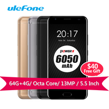 Ulefone Power 2 Smartphone MT6750T Octa-Core 1.5GHz 64G ROM 4G RAM Andriod 7.0 4G LTE Mobile Phones 6050mAh 13MP Gorilla Glass(China)