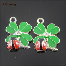 Julie Wang 10pcs Cute Charms Silver Base Ladybug And Clover Design Pendant Handmade Bracelet Hanging Crafts Women DIY Jewelry(China)