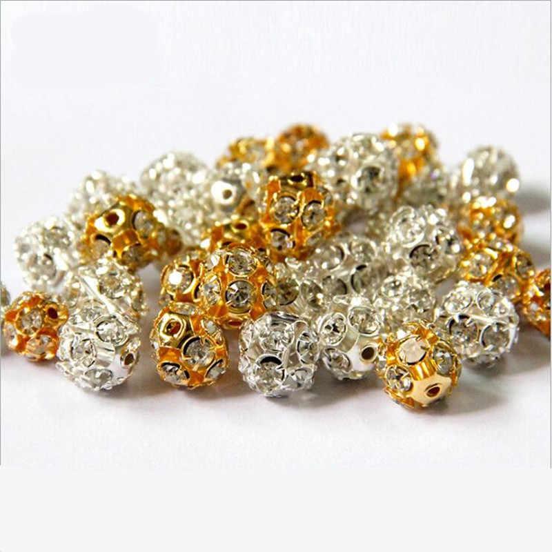 30pcs lot 8 10mm Gold Silver Round Pave Disco Ball Shamballa Beads  Rhinestone e443675f3c83