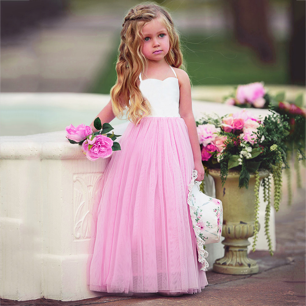 Fashion New Baby Girls Pink Summer Dress Kids Girls Princess Party Mesh Lace Tulle Halt Gown Formal Wedding Dresses 1Y-6Y Girls 7