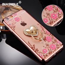 for samsung S5 2015 Ring clasp Flower Lace Pattern Soft Silicon TPU Phone case for Samsung Galaxy S5 I9500 luxury Diamond Cases