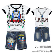 fwholesale Baby thomas Cars Clothing Sets Boy Girl's Cartoon Suit Set Children's 2-Piece Set T-shirt+ Denim Short Casual Sets