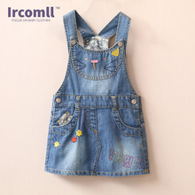 Girls Jeans Skirt Girl Suspender Casual A-line Cute Hello Kitty Girls Denims Suspender Overalls Girl 2-8Years Denim Clothes(China)