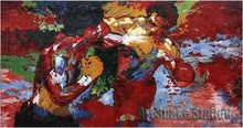 "Abstract Artists Paintings repro by Leroy Neiman ""Rocky vs Apollo"" Sports Movie art silk Poster"