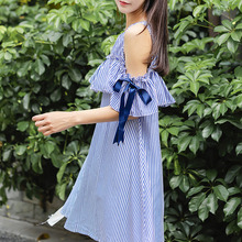 Buy Fashion shoulder stripe dress loose A-line short dress cute bow tie short sleeve ruffle mini dresses woman clothing blue new for $13.80 in AliExpress store