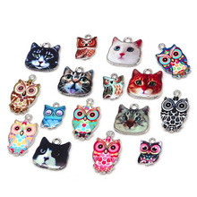 hole1.5/2mm Multi size 2-6pcs Owl Cat Enamel Spacer Bead Charm Fit DIY Necklace Bracelet Pendant For Jewelry Findings Making