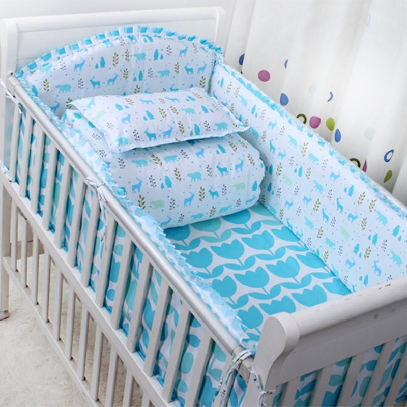 2016 new 6 Pcs/sets cartoon breathable crib liner cotton crib bumper baby cot sets baby bed protector baby bedding bumper<br>