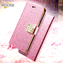 KISSCASE Luxury Bling Flip Case For iPhone 6 6s 7 Plus Glitter Girl Leather Bags Wallet Stand Glitter Case For iPhone 6s Cover(China)