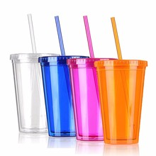 Simple Design 500ML Double Wall Milk Smoothie Iced Coffee Juice Water Plastic Drink Cup Bottle Beaker Lid With Straw Drinkware