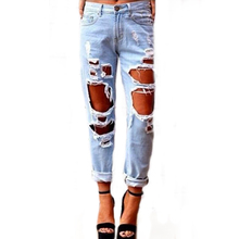 Plus Size Loose Wild Sexy Big Hole Beggar Faded Ripped Denim Jeans Women Pants Cool Vintage Straight Jeans Mid Waist Casual Pant