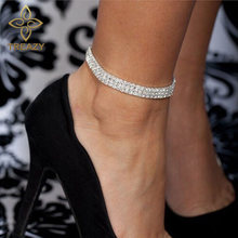 TREAZY Fashion Stretch Anklets Silver Color Women Crystal Ankle Bracelet  Barefoot Sandals Pulseras Tobilleras Mujer Foot Jewelry 9068d71b8a9d
