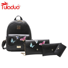 Female Package 4Pcs/Set Fashion PU Shoulder Bag Leisure Travel Butterfly Embroidery Large Capacity Backpack Purse+Shoulder Bags