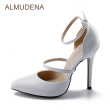 ALMUDENA New Arrival White Patent Leather Pumps Pointed Toe Stiletto Heels Buckle Strap Dress Shoes Covered Heel Women Shoes(China)