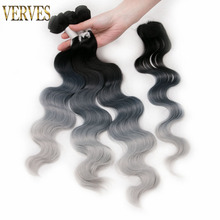 "3 Weft 18""+20""+22"" inches with a piece VERVES synthetic weaving 260g/pack Curly Wave ombre hair weft extensions blue,green"