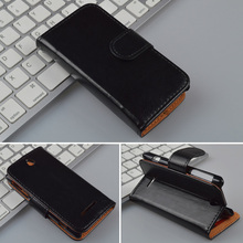Crazy Horse Leather Case For Sony Xperia E Dual C1605  Wallet Cover with ID Card Slots and Stand 4 Colors in Stock