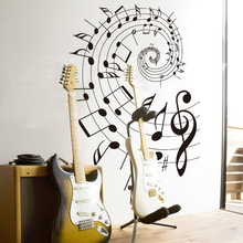 New Design Fashion Creative Music Theme Home Decoration Wall Stickers Musical Note Staff Wallpaper Bedroom Wall Decals(China)