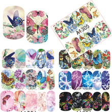 1 Sheets Nail Sticker Butterfly Summer Colorful Water Transfer Full Tips Nail Decorations UV Gel Polish DIY Decals TRA1297-1308(China)