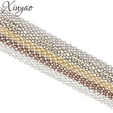 XINYAO 10m/lot 2*3/3*4/4*6mm Iron Necklace Chains Bulk Antique Bronze/Gold/Silver Color Rolo Chains For Jewelry Making F711