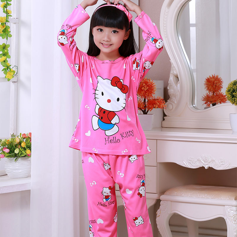 Syue Moon Girls Pajamas Sets Kids Hello Kitty Pyjamas Children Comfortable Sleepwear Teenager Boy Homewear Nightwear Clothes(China)