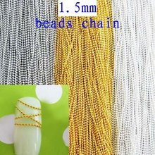 Free Shipping 100m 1.5mm Silver/Gold/Nickle Plated Beads Chain Copper Ball Chain Nails Decoration DIY Jewelry Making Materials