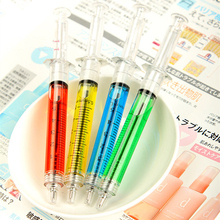 12 pcs/lot Creative novelty syringe ballpoint ball point pens for writing promtional cute stationery school office accessories