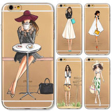 Phone Case For iPhone 6 6s 7 7plus 8 8Plus 5 5s SE Girl Design Soft TPU Clear Ultra thin Beautiful Girl Styles Cover Accessories(China)